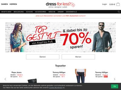 Bildschirmfoto für dress-for-less.at