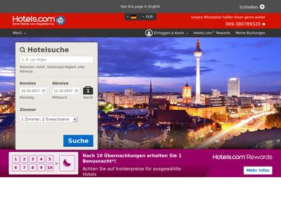 Bildschirmfoto für hotels.com