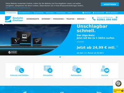 Bildschirmfoto für Deutsche Glasfaser