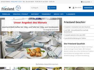 Bildschirmfoto für Friesland Versand
