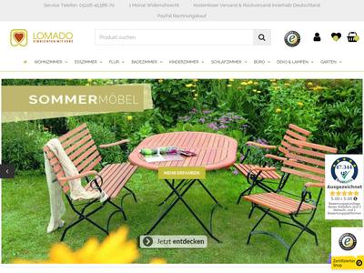 Bildschirmfoto für lomado.de
