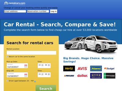 Bildschirmfoto für rentalcars.com