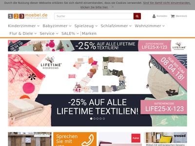 Bildschirmfoto für 123moebel.de
