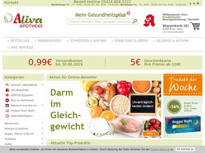 Bildschirmfoto für Aliva Versandapotheke