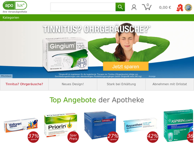 Bildschirmfoto für Apolux.de