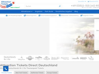 Bildschirmfoto für attractionticketsdirect.de
