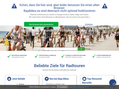 Bildschirmfoto für bajabikes.eu