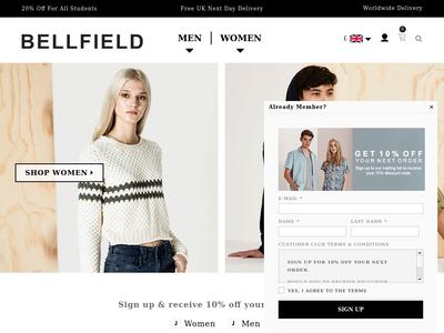 Bildschirmfoto für bellfieldclothing.com