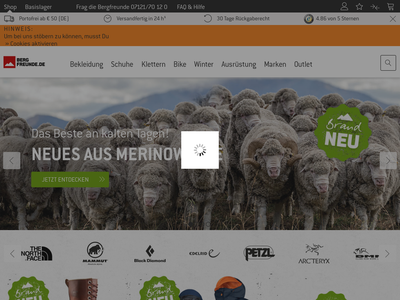 Bildschirmfoto für Bergfreunde.de
