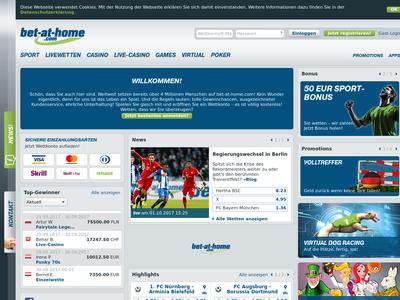 Bildschirmfoto für bet-at-home.com