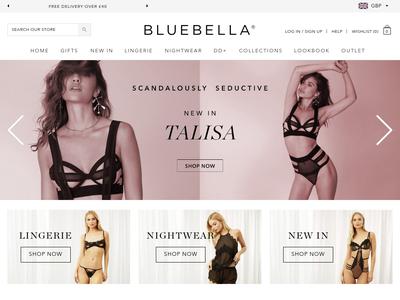 Bildschirmfoto für bluebella.com
