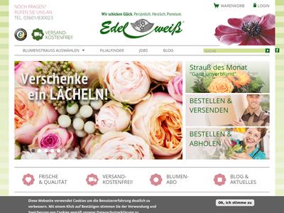 Bildschirmfoto für blumenversand-edelweiss.de
