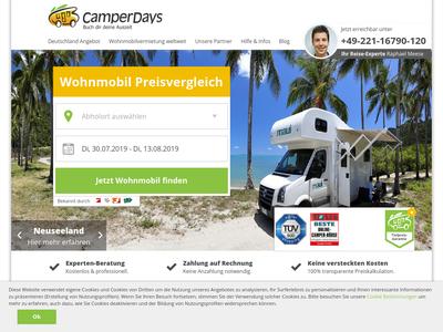 Bildschirmfoto für camperdays.de