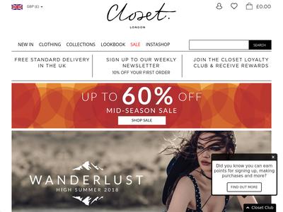 Bildschirmfoto für closetlondon.com
