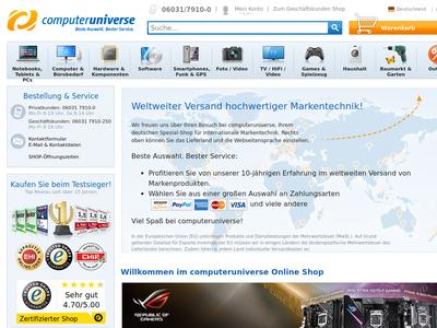 Bildschirmfoto für computeruniverse