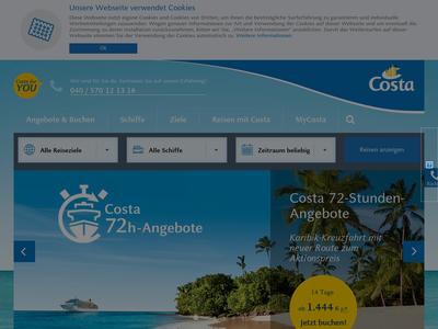 Bildschirmfoto für Costa Kreuzfahrten