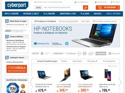 Bildschirmfoto für Cyberport