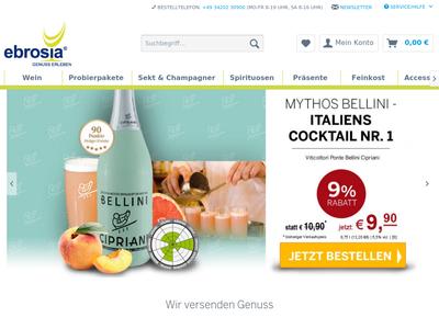 Bildschirmfoto für Wein-Shop ebrosia