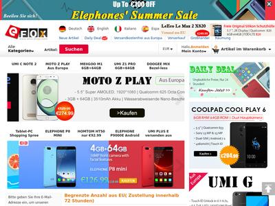 Bildschirmfoto für EFOX SHOP