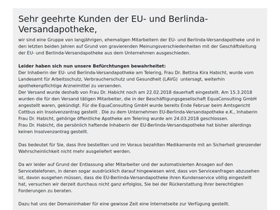 Bildschirmfoto für EU-Versandapotheke