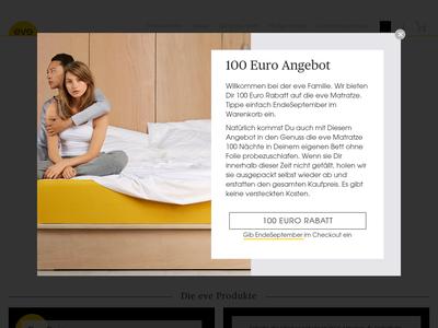 Bildschirmfoto für evemattress.de