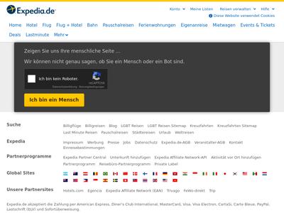 Bildschirmfoto für Expedia.de