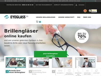 Bildschirmfoto für eyeglass24.de