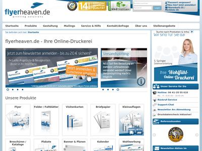 Bildschirmfoto für flyerheaven.de