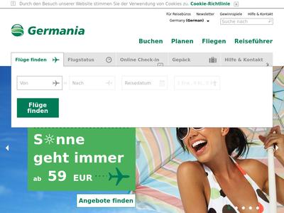 Bildschirmfoto für flygermania.com
