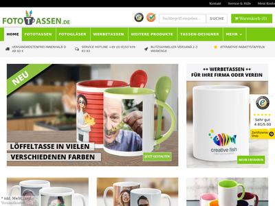 Bildschirmfoto für fototassen.de