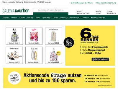 Bildschirmfoto für GALERIA Kaufhof
