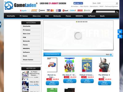 Bildschirmfoto für gameladen.com