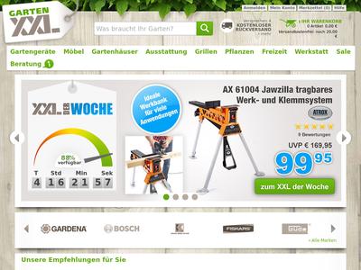 Bildschirmfoto für Gartenshop GartenXXL