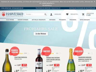 Bildschirmfoto für Hawesko