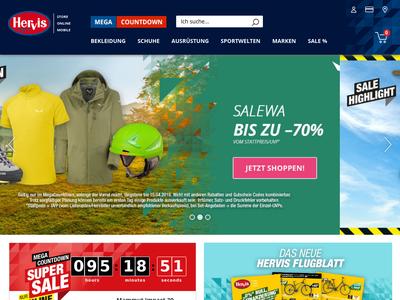 Bildschirmfoto für hervis.de