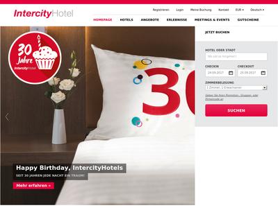 Bildschirmfoto für intercityhotel.com