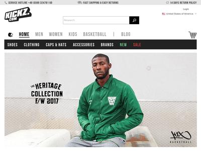 Bildschirmfoto für kickz.com