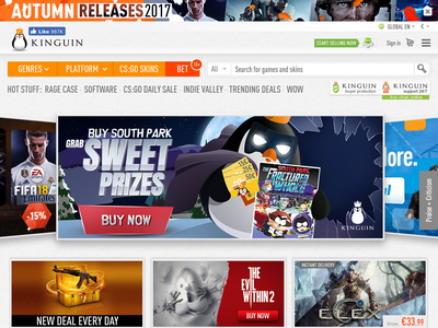 Bildschirmfoto für Kinguin.net