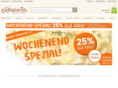Bildschirmfoto für Klebefieber.de