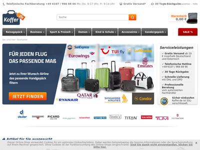 Bildschirmfoto für Koffer.de