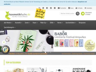 Bildschirmfoto für kosmetikfuchs.de