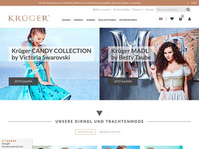 Bildschirmfoto für krueger-dirndl.de