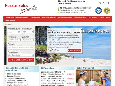 Bildschirmfoto für kurzurlaub.de