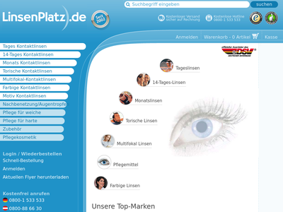 Bildschirmfoto für Linsenplatz