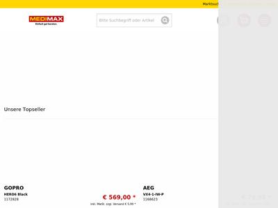 Bildschirmfoto für medimax.de