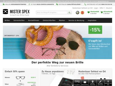 Bildschirmfoto für Mister Spex