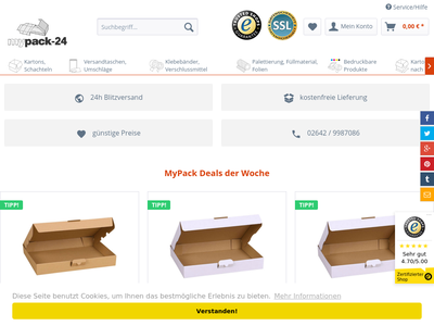 Bildschirmfoto für mypack.de