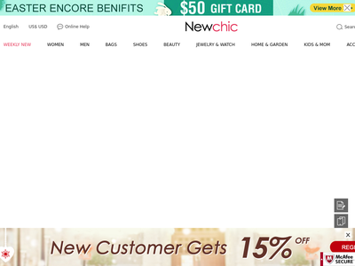 Bildschirmfoto für newchic.com