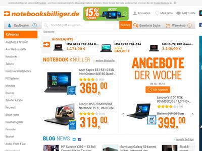 Bildschirmfoto für notebooksbilliger.de