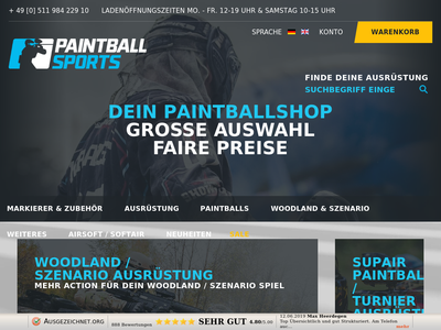 Bildschirmfoto für paintballsports.de